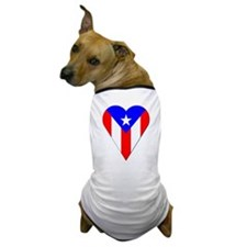 Puerto Rico Heart-Shaped Flag Dog T-Shirt