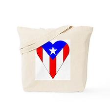 Puerto Rico Heart-Shaped Flag Tote Bag