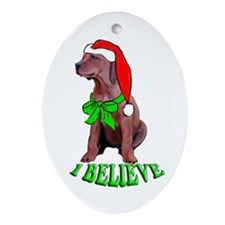 Christmas hound puppy Oval Ornament