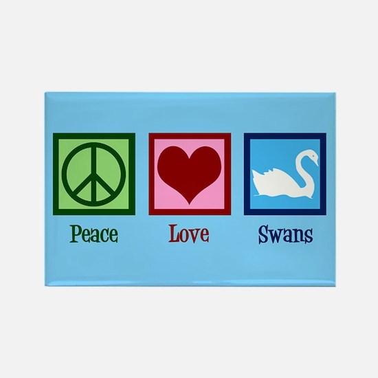 Peace Love Swans Rectangle Magnet