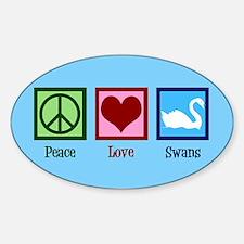 Peace Love Swans Sticker (Oval)