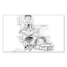 Little reader, big book Rectangle Decal