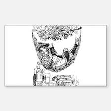 Reading and Drinking Rectangle Decal