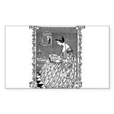 Reading Lady Rectangle Decal