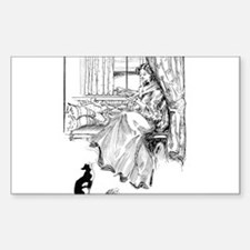 Reading Lady in window Rectangle Decal