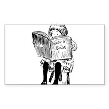 very little girl reading Rectangle Decal