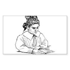 Girl Reader Rectangle Decal