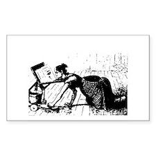 Scrubbing Woman Rectangle Decal