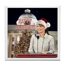 Happy Holidays Palin Tile Coaster