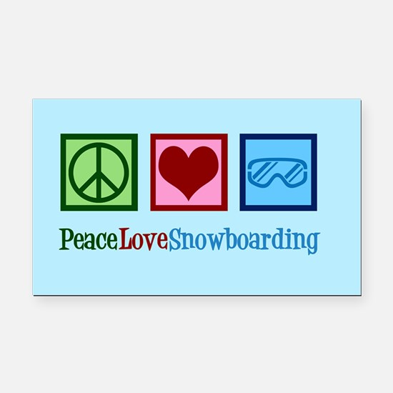 Cute Snowboarding Rectangle Car Magnet