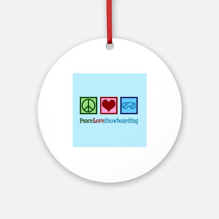 Cute Snowboarding Round Ornament