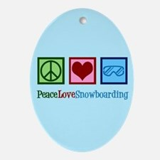 Cute Snowboarding Oval Ornament