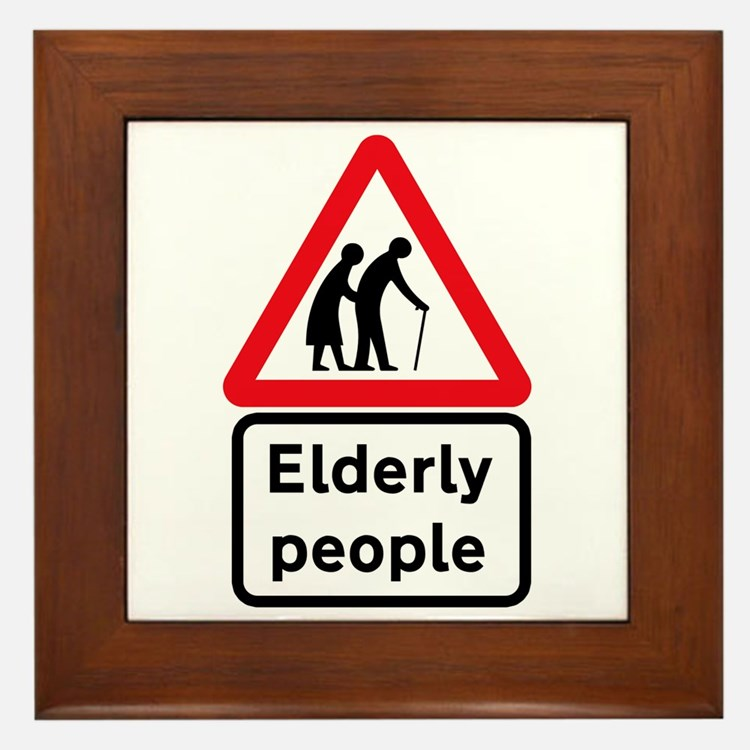 Elderly People, UK Framed Tile