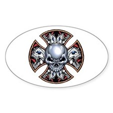 Screaming Iron Skull Oval Decal