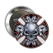 "Screaming Iron Skull 2.25"" Button"
