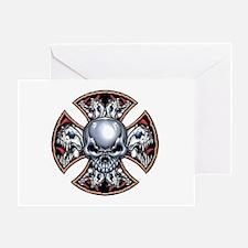 Screaming Iron Skull Greeting Card