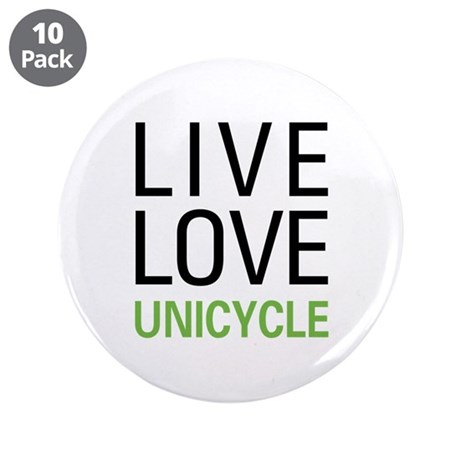"Live Love Unicycle 3.5"" Button (10 pack)"