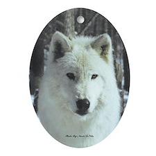 Solo White Wolf Oval Ornament