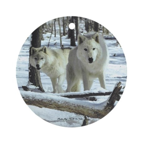 Two White Wolves Ornament (Round)