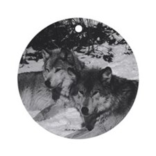 Two Wolves Black & White Ornament (Round)