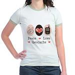 Peace Love Geocache Geocaching Jr. Ringer T-Shirt