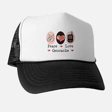 Peace Love Geocache Geocaching Trucker Hat