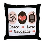 Peace Love Geocache Geocaching Throw Pillow