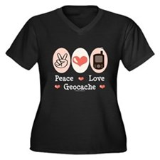 Peace Love Geocache Geocaching Women's Plus Size V