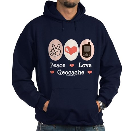 Peace Love Geocache Geocaching Hoodie (dark)