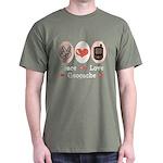 Peace Love Geocache Geocaching Dark T-Shirt