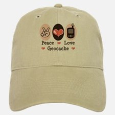 Peace Love Geocache Geocaching Baseball Baseball Cap