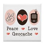 Peace Love Geocache Geocaching Tile Coaster