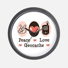Peace Love Geocache Geocaching Wall Clock