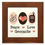Peace Love Geocache Geocaching Framed Tile
