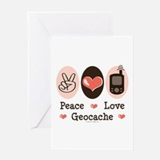 Peace Love Geocache Geocaching Greeting Card