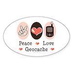 Peace Love Geocache Geocaching Sticker (Oval 50 pk