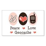 Peace Love Geocache Rectangle Sticker 10 pk)