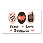 Peace Love Geocache Rectangle Sticker 50 pk)