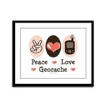 Peace Love Geocache Geocaching Framed Panel Print