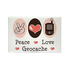 Peace Love Geocache Geocaching Rectangle Magnet