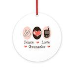Peace Love Geocache Geocaching Ornament (Round)