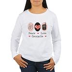 Peace Love Geocache Geocaching Long Sleeve T shirt