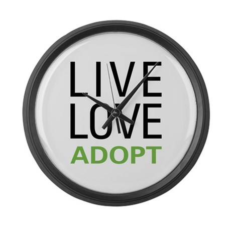 Live Love Adopt Large Wall Clock