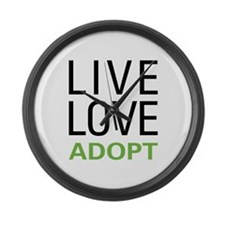 Live Love Adopt Large Wall Clock