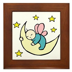 Moon Baby Framed Tile