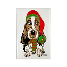 Christmas Basset Hound Rectangle Magnet (10 pack)