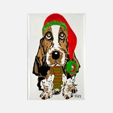 Christmas Basset Hound Rectangle Magnet