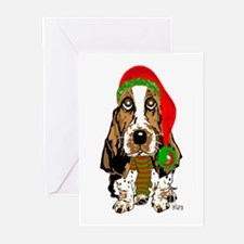 Christmas Basset Hound Greeting Cards (Pk of 10)