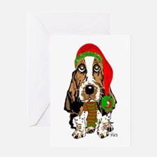 Christmas Basset Hound Greeting Card