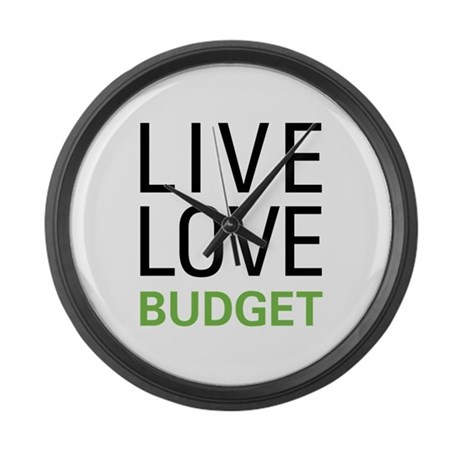 Live Love Budget Large Wall Clock